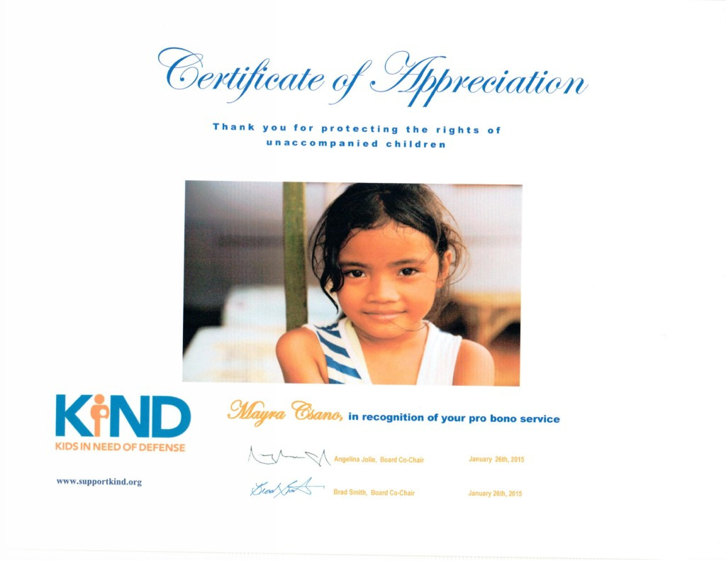 Our office just received this certificate from KIND (Kids in Need of Defense). We had a wonderful experience volunteering with the organization and are delighted with the results we obtained for our client.